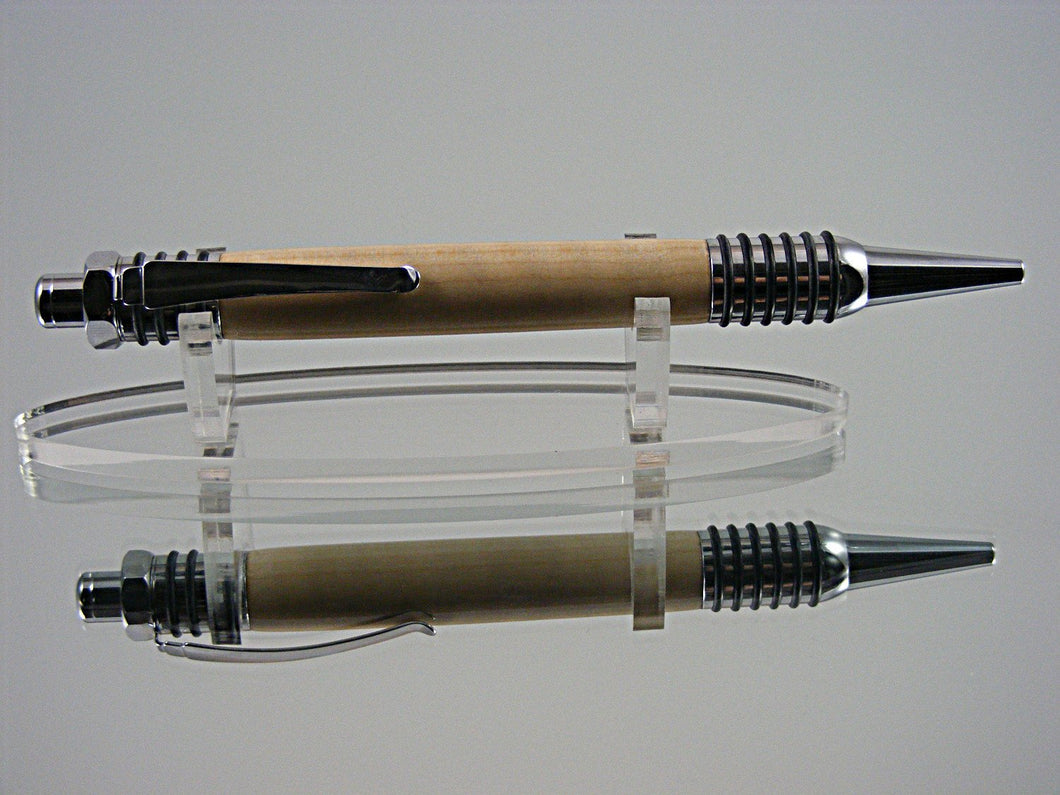 Handcrafted Industrial Ballpoint Pen in Chrome and Curly Maple