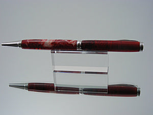 Ballpoint Pen, Handcrafted in Rhodium and Fire Feathers Acrylic