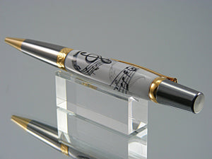 Music Themed Ballpoint Pen, Handcrafted in Black Titanium and Gold Titanium