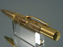 Load image into Gallery viewer, Knurled Ballpoint Pen, Handcrafted in 24k Gold and Masur Birch