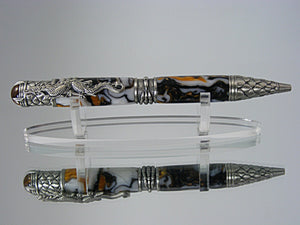 Dragon Pen Handcrafted in Antique Pewter and Renaissance Acrylic