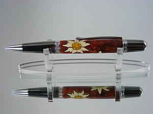 Edelweiss Flowers Inlay Pen, Handcrafted in Black TI and Platinum