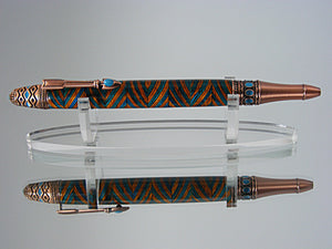 Southwest Mesa, Handcrafted Pen in Antique Copper with Turquoise Stones