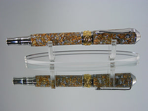 Rollerball, Handcrafted Nouveau Style in 22k Gold and Rhodium with Metal Flake Acrylic