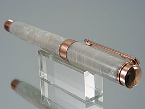 Fountain Pen, Handmade in Rose Gold with Coconut Acrylic