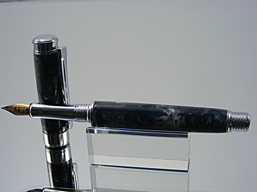 Fountain Pen, Handmade in Chrome with Blue Steel Acrylic