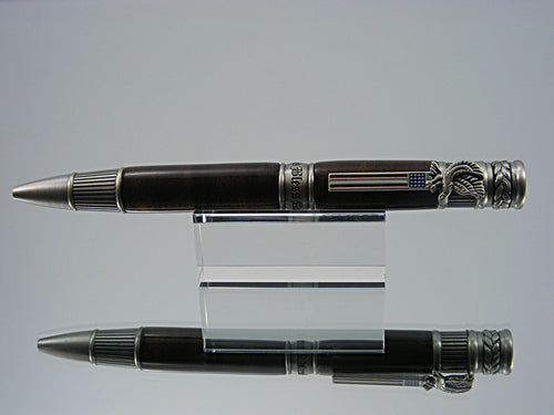 Patriotic Ballpoint Pen, Handcrafted in Antique Pewter and Walnut Root