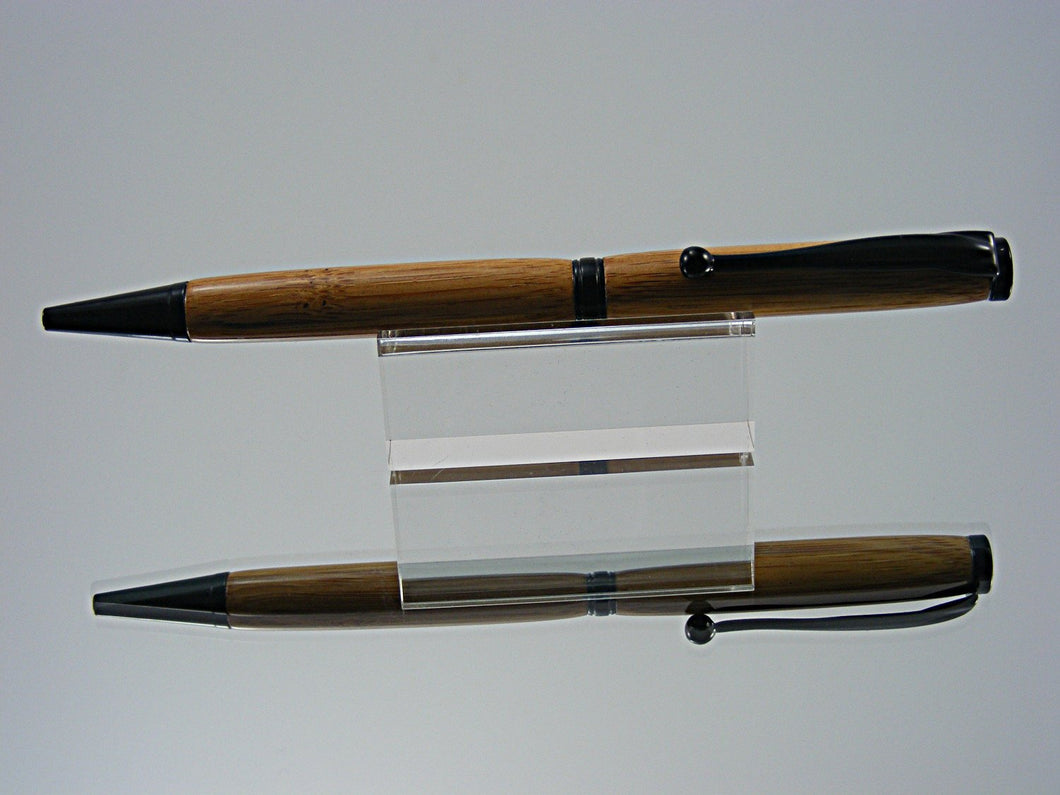 Ballpoint Pen, Handcrafted in Black Enamel and Caramel Bamboo