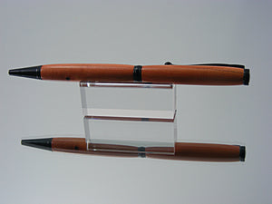 Ballpoint Pen, Handcrafted in Black Enamel and Pink Ivory