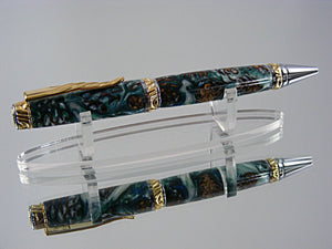 Cigar Pen, Handcrafted in Chrome and Upgrade Gold with Mini Pine Cones in Acrylic