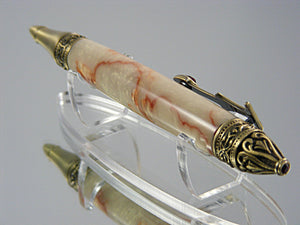 Gothic Pen, Handcrafted in Antique Brass and Crushed Mud Acrylic