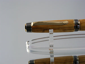 Handcrafted Cigar Ink Pen in 24k and Gunmetal with Bethlehem Olivewood