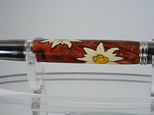 Load image into Gallery viewer, Edelweiss Flowers Inlay Pen, Handcrafted in Black TI and Platinum