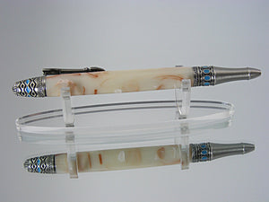 Southwest Mesa, Handcrafted Pen in Antique Pewter with Turquoise Stones