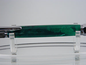 Industrial Pen, Handcrafted in Chrome and Emerald Green Acrylic