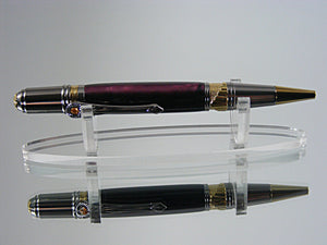 Art Deco Pen, Handcrafted in Gold and Black Titanium with Italian Resin