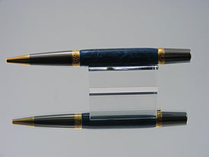 Ballpoint Pen, Handmade with Italian Resin in Black Titanium and Gold Titanium