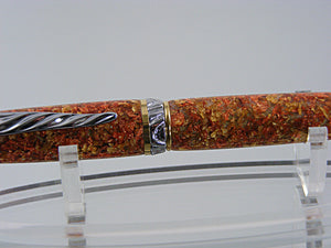 Cigar Pen, Handcrafted in Chrome and Upgrade Gold with Metal Flake Acrylic