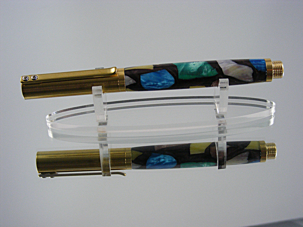 Industrial, Handcrafted Fountain Pen with C3604 Raw Brass and Picasso Acrylic