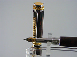 Handcrafted Non-Postable Fountain Pen in Rhodium and 22k Gold with Marbled Red German Ebonite