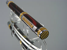 Load image into Gallery viewer, Handcrafted Non-Postable Fountain Pen in Rhodium and 22k Gold with Marbled Red German Ebonite