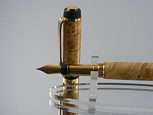Fountain Pen, Handmade in 24k Gold with Box Elder Burl