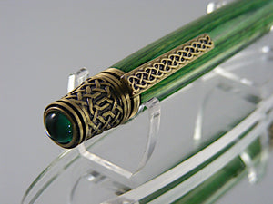 Celtic Pen, Handcrafted in Antique Pewter and Tahitian Emerald