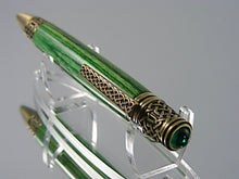 Load image into Gallery viewer, Celtic Pen, Handcrafted in Antique Pewter and Tahitian Emerald