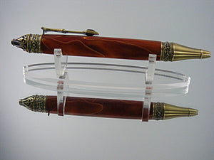 Gothic, Handcrafted Pen in Antique Brass with Orange and Gold Acrylic