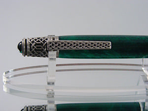 Celtic Pen, Handcrafted in Antique Pewter and Emerald Green Acrylic