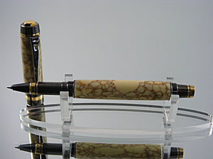 Rollerball, Handcrafted in 24k Gold and Gunmetal with Penn-Stone