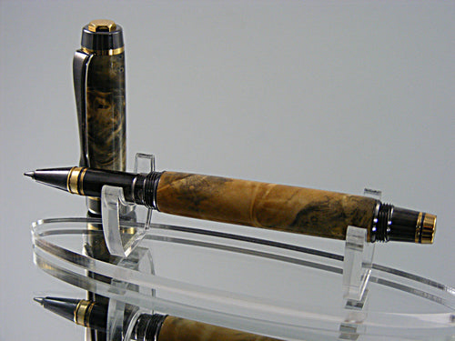Rollerball, Handcrafted in 24k Gold and Gunmetal with Clear Buckeye Burl