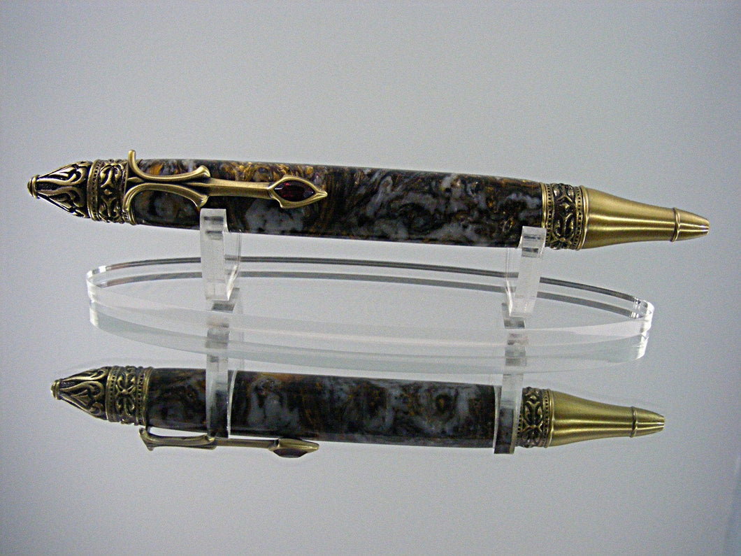 Gothic, Handcrafted Pen in Antique Brass with Renaissance Acrylic
