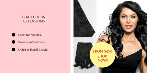 Quad Clip-In Hair Extensions for Female Thin Hair