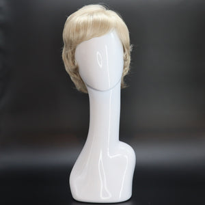 SYNTHETIC WIG SHORT WAVY SIDE PART BANGS PLATINUM BLONDE FRONT