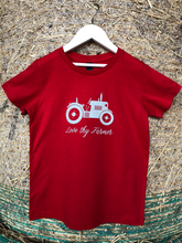 Load image into Gallery viewer, Kids' Short Sleeve Tractor T-Shirt in Red/Royal Blue with Sand Printing