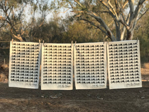 Australian cotton tea towels on a clothesline