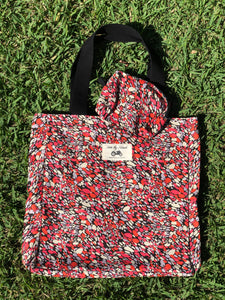 Mother's Day Pack: Liberty Fabric Tote and Makeup Bag + Pink Paddock card