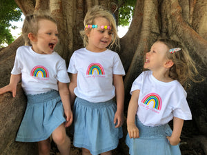 Kids' Short Sleeve Rainbow T-Shirt in White/Navy