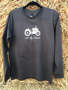 Men's Long Sleeve T-Shirt in Navy/Coal with Sand Printing