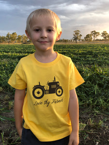 Kids' Short Sleeve Tractor T-Shirt in Yellow with Brown Printing