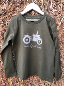 Kids' Long Sleeve Tractor T-Shirt in Khaki/Navy with Sand Printing