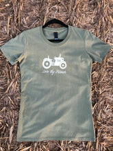 Load image into Gallery viewer, Ladies' Short Sleeve Tractor T-Shirt in Khaki/Navy with Sand Printing