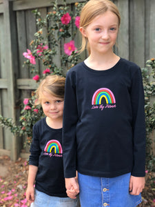 Kids' Long Sleeve Rainbow T-Shirt in Navy