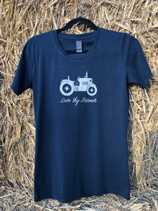 Ladies' Short Sleeve Tractor T-Shirt in Khaki/Navy with Sand Printing