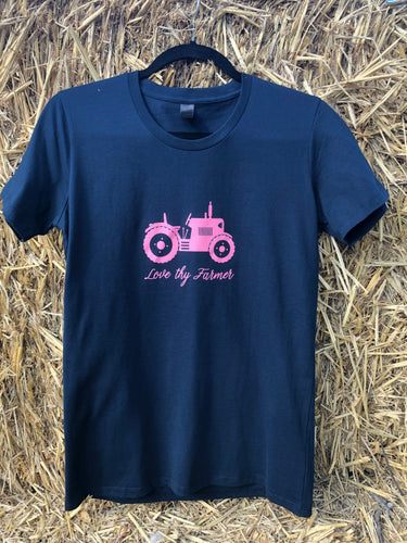 Ladies' Short Sleeve Tractor T-Shirt in Navy with Pink Printing