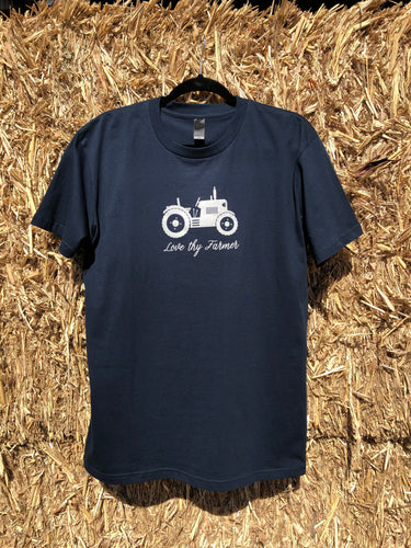 Men's Short Sleeve Tractor T-Shirt in Navy with Sand Printing