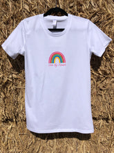 Load image into Gallery viewer, Ladies' Short Sleeve Rainbow T-Shirt in White