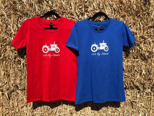 Ladies' Short Sleeve Tractor T-Shirt in Red/Royal Blue with Sand Printing