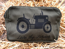 Load image into Gallery viewer, Australian Cotton Utility/Wash Bag in Forest Green/Navy